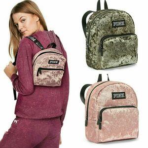 Details about  /New Victoria/'s Secret PINK Velvet Campus Backpack Laptop School Travel Bag Tote